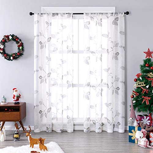 Sheer Curtains Floral Printed Linen Textured Curtain Sheers Christmas Xmas Holiday Living Room 63 inch Length Print Bedroom Window Treatment Set 2 Panels Rod Pocket Drapes Grey Flower Light Filtering