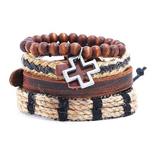 Braccialetto a croce da uomo europeo e americano fai-da-te, pelle bovina, corda di canapa, braccialetto tandem in pelle, set di 4 pezzi lungo 19 cm rosso marrone