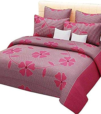 Anu Home Gallery 144TC, 3D Printed Pattern Glace Cotton Double Bedsheet with 2 Pillow Cover (90 X 90 Inch, Multicolour) (fruity1)