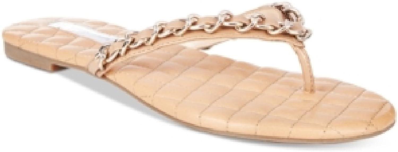 INC International Concepts Women's Maceo Chain Thong Sandals Dark Almond Size 8 M US