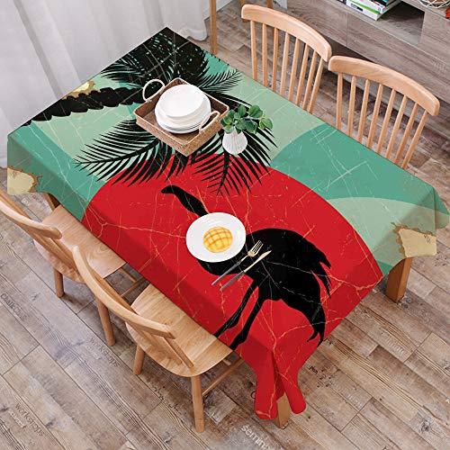 Nappe Imperméable Coton et Lin de Table Rectangulaire Résistant Nappe Anti-Taches,Tropical, composition hawaïenne grunge de sty,Table à Manger Picnic Party Jardin Lavable Entretien Facile(140 * 200CM)