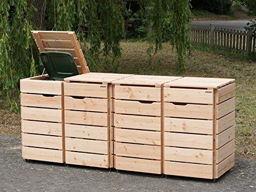 4er Mülltonnenbox / Mülltonnenverkleidung 120 L Holz, Douglasie Natur - 2