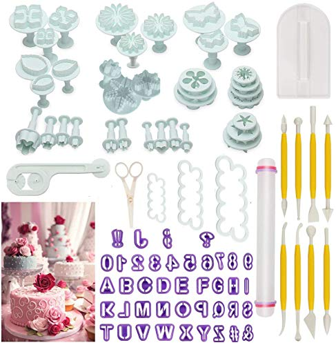 Cake Tools90pcs Fondant Cake Mould Sugarcraft Alphabet Letters Cutters Cake Decorating Tools Cutters Icing Modelling Tool Kit Rolling Pin Smoother Embosser Mould ToolsScissorsRose Cookie Cutter
