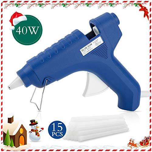 FL Hot Glue Gun, 40W High Temperature Hot Melt Glue Gun Kit with 15 pcs Glue Sticks, Packaging, DIY, Arts & Craft, Repair and More, Dark Blue (FQ-158B)