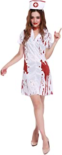 Ausexy Womens Halloween Short Sleeve V-Neck Gothic Ghost Nurse Dress for Halloween Cosplay Costumes White