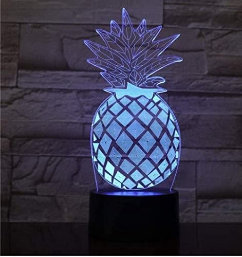 Ananas Led-nachtlampje, 7 kleuren, 3D optische illusie lamp voor slaapkamer, bureau, bedlampje