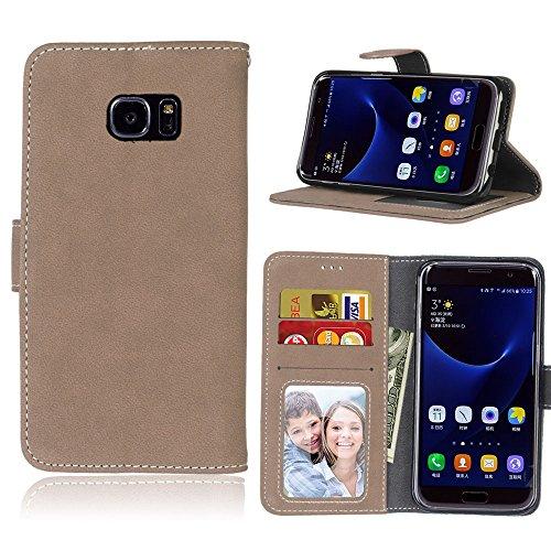 Capa para Samsung Galaxy S7 Edge G935 proteção de couro PU com 3 compartimentos para cartões capa flip (Bege)