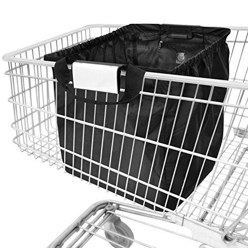 achilles Easy-Cooler Faltbare Einkaufswagentasche mit Kühleinsatz Einkaufstasche passend für alle gängigen Einkaufswagen Shopper Tragetasche Falttasche Kühltasche Schwarz 54x35x39 cm