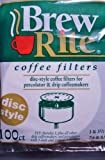 Disc Coffee Filter 3.5 and 3 Percolator Full Case 1,200 Count Ct Brew Rite