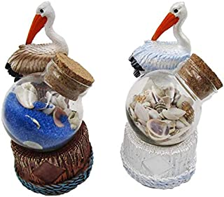 Pelican Sand and Shell Jars Beach Souvenir Gift 3 1/2 Inch, Set of 2