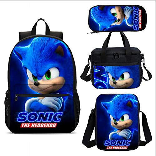 Sonic Backpack 4pcs/lot Anime Figure Children's School Backpack Sonic The Hedgehog Kids School Bags Cartoon Design 3D Backpack for Gift