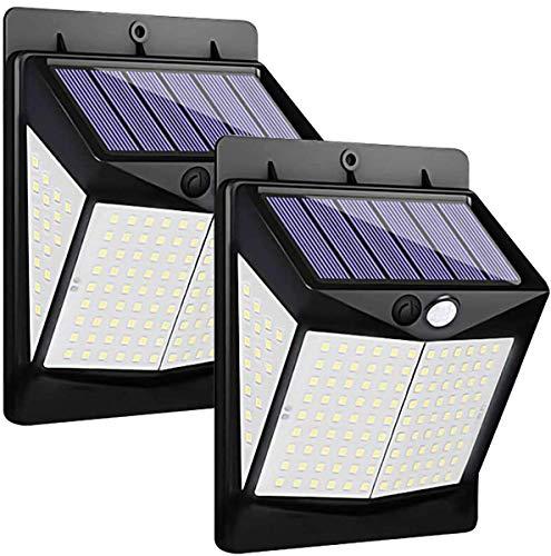 Luces Solares - 140 LED Lámpara Solar Exterior Solar Luz LED Iluminación Exterior con sensor de movimiento solar para exteriores para Jardín, Patio, Terraza, Inicio, Camino, Escalera Exterior (paquete de 2)