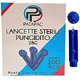 100 Lancette Sterili Pungidito Monouso Ago 28 Grammi da utilizzare con dispositivo pungi dito per la misurazione della glicemia nel sangue a Punta Sterile