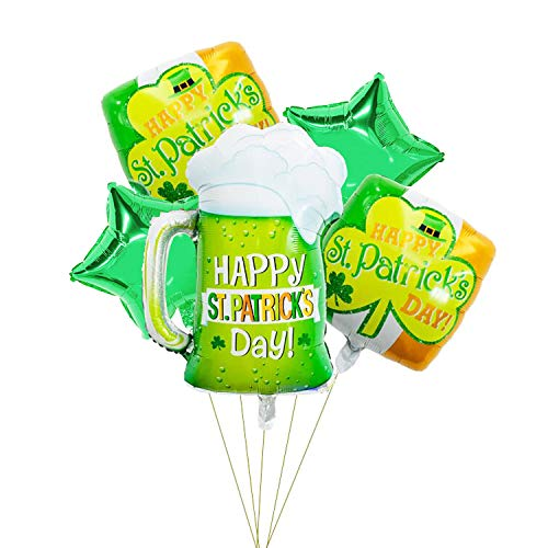 ACHICOO St. Patricks Day Irish Festival Aluminium Folienballon Green Clover Weinglas Ballon Set 1#