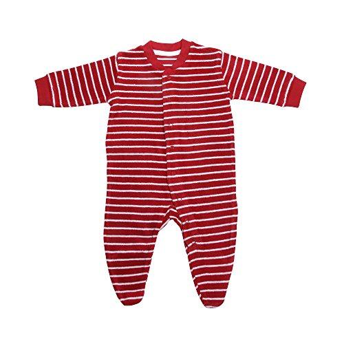Living Crafts Baby/Kinder Frottee-Schlafanzug Bio-Baumwolle Cherry/White Striped 92