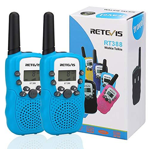 Retevis RT388 Walkie Talkie Bambini Ricetrasmittenti Bambini 8 Canali PMR446 con Display LCD Funzione VOX Suoneria Blocco Tastiera Torcia (Blu)