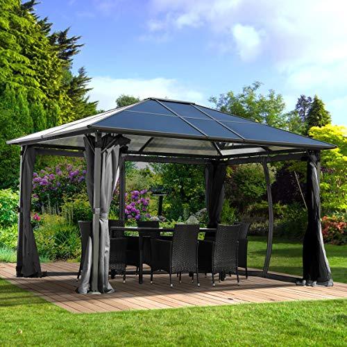 BRAST Alu-Pavillon Summerdream 3x4m grau festes Dach wasserdicht + Moskitonetz + LEDs 2 Farben 3...