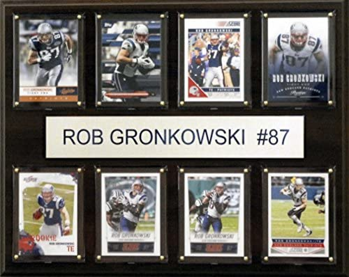 NFL New England Patriots Rob Gronkowski 8 Card Plaque 12 x 15 Inch Brown product image
