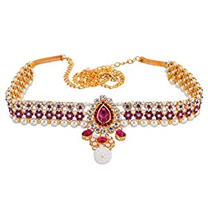 Sanjog Embellished Multi-Color Stone Gold Plated Kamarband Belly Chains for Women/Girls (Pink)
