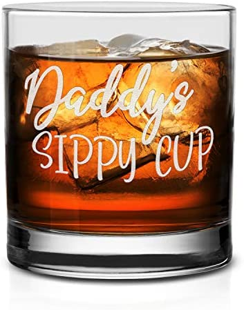 NeeNoNex Daddy s Sippy Cup Whiskey Glass Funny Birthday Gift for Dad product image