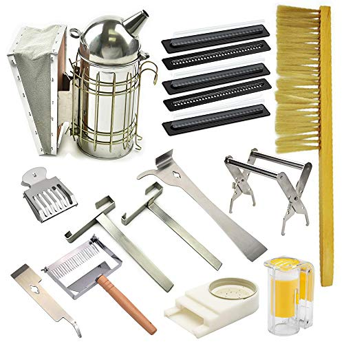 Blue Ridge Bee Company Beginner Kit 12 Essential Tools for Basic Beekeeping Smoker, Hive Tool, Brush, Frame Grip, Queen Clip, Marking Pen, Queen Marking Tube, 2 x Beetle Trap, Feeder, Comb Uncapper