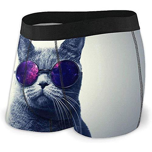 Web--ster Nette männliche Katze Kitty Meaon lustige verrückte Tiere Haustiere Brille atmungsaktive Unterhose Unterwäsche Boxershorts für Männer und Jungen