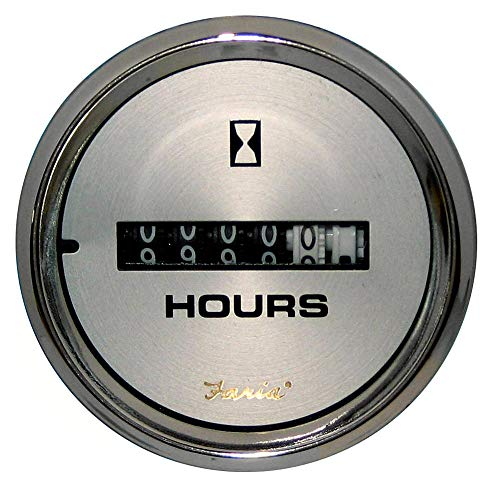 Faria 19020 Kronos Hourmeter Gauge 10,000 Hours-12-32VDC, 2
