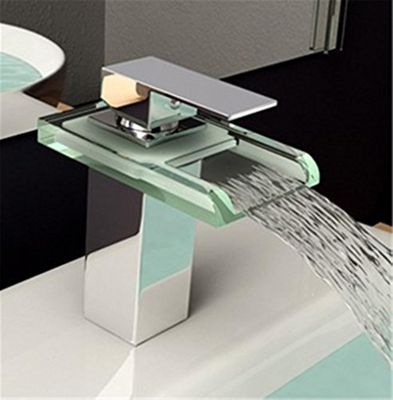 AOEIY Wasserhahn Küchen Mischbatterie Kupferne quadratische heie und kalte Glaswasserfallmischung Waschtischarmaturen Mixer Spültisch Armatur Bad Spülbecken badezimmer Küchenarmatur