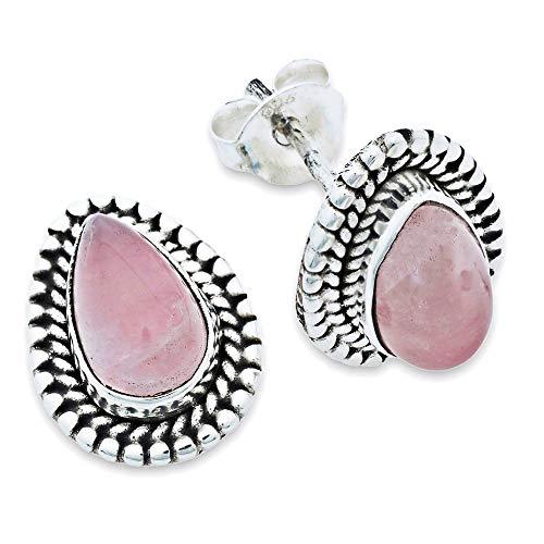 Pendientes de plata 925 con cuarzo rosa (No: MOS 55-07)