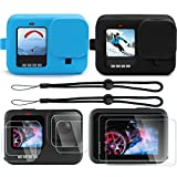 VARIPOWDER Accessories Kit for GoPro Hero 9 with 2Pcs Silicone Protective Case+Tempered Glass Screen Protector+Lanyard,Bundle for GoPro Hero 9