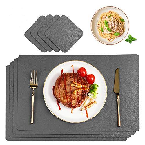 CHONLY Platzsets PU Kunstleder Tischsets 4er Sets Abwischbare Wasserdicht Platzdecken Lederoptik 45x30cm und 4er Glasuntersetzer Geschenke Kiste für Hause Küche Restaurant und Hotel