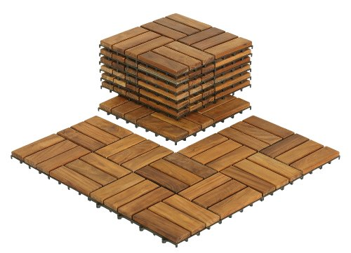 Bare Decor BARE-WF2009 Solid Teak Wood Interlocking Flooring Tiles (Pack of 10), 12' x 12', Brown