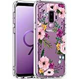 LUHOURI Samsung Galaxy S9 Plus Case Clear with Design for Girls Women,Shockproof Hard PC Cover and Soft TPU Bumper Slim Fit Protective Phone Case for Galaxy S9+ Plus 6.2 inch Purple Blossoms