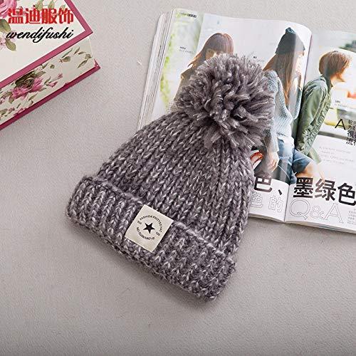 XUJJA La Nueva Bola Gorro de Lana de Corea del Sombrero de Punto ovo otoño Estrella de Cinco Puntas de la Moda Femenina Color Mezclado Sombrero de Invierno Femenina