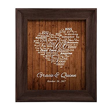Homokea Lovers Crossroads Personalized Wedding Gifts For The Couple Unique Anniversary Gifts(11x14 Brown Frame)