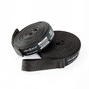 Hammock Tree Straps (Set of 2). Black Adjustable Loop Straps, Heavy Duty. Easy to Set Up, No-Stretch Polyester, 9.186 feet