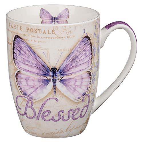 "Botanic Butterfly Blessings Purple ""Blessed"" Mug - Jeremiah 17:7"