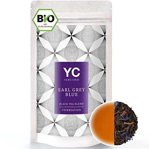 YANG CHAI Bio Earl Grey Blue Tee in Premium Qualität hochwertiger Schwarztee mit Bergamotte, lose – das ideale Tee Geschenk für Teeliebhaber in stabiler Teedose 90 Gramm
