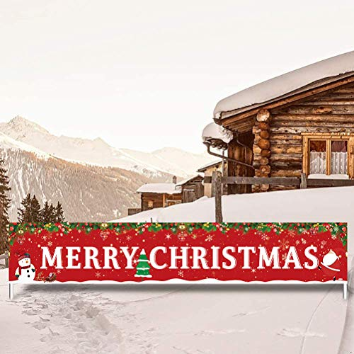 feiwo Large Merry Christmas Banner,Xmas Outdoor & Indoor Hanging Decor,Xmas Sign Huge Xmas Home Party Decoration (Christmas Tree)