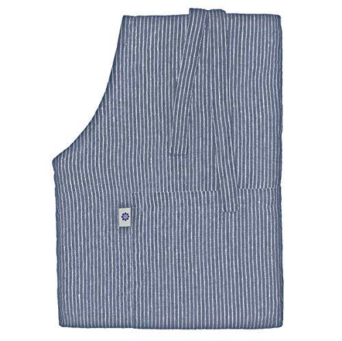 Linen & Cotton Lang Schürze Küchenschürze Kochschürze für Frauen Damen Männer Livi - 100% Leinen (66 x 100cm), Streifen Blau/Weiß - Latzschürze Backschürze Bistroschürze für Küche Restaurant Café