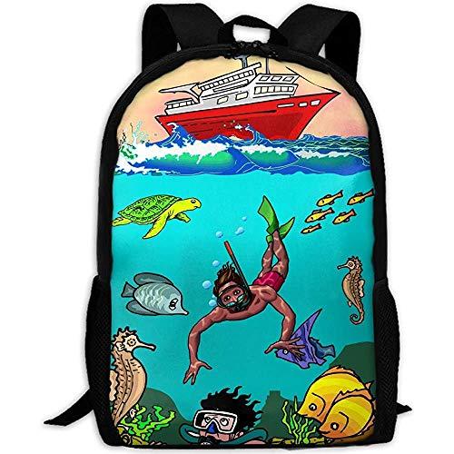 Daypack Barco De Dibujos Animados Fish Ocean Diving Imprimir Mochila Personalizada Mochila...