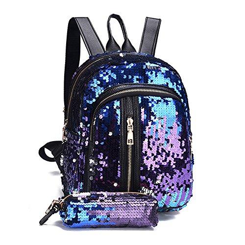 OHQ Bolso De Mochila Moda Chica Lentejuelas Mochila Escolar Mochila Bolsa De Viaje + Cartera De Embrague Casual Billeteras Moda