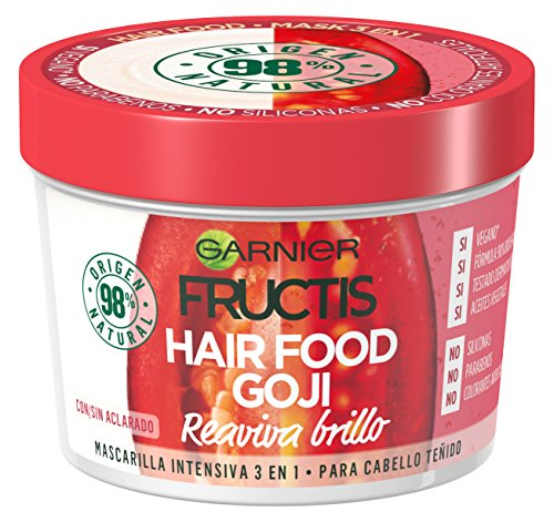 Garnier Fructis Hair Food Goji - Mascarilla intensiva 3 en 1, para cabello teñido (3 x 390 ml)