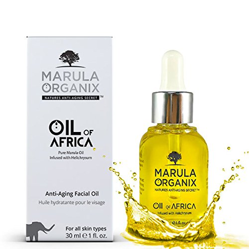 Marula Organix Cold Pressed Marula Oil - Infused with Helichrysum Oil - Powerful Antioxidant Serum, Noncomedogenic Facial Moisturizer, Effective Anti Aging Serum and Replacement For Your Anti...