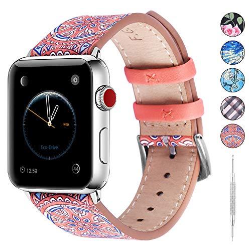 Fullmosa Cinturino in Pelle per Apple Watch 38mm, Galeri Cinturino, Cinturini con Motivo Inciso a Fiori Compatibile con iWatch 5/4/3/2/1, 38mm Arancione