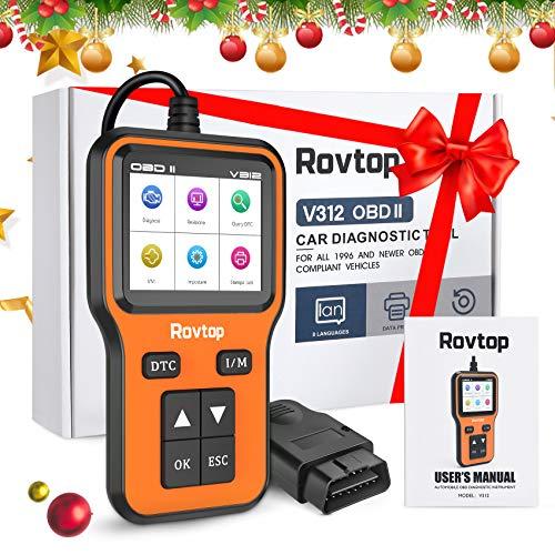 Rovtop 5 in 1 Universal OBD2 Scanner,Auto Diagnostica Scanner Strumenti,Rapporto Dati Carburante Grafico Dati in Tempo Reale,Supporto Stampa Dati,Memorizzazione Dati