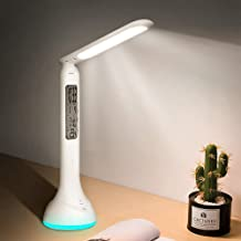 XIAOKOA Table Lamp - White,Desk Light with Touch and RGB Base for View Time Calendar Desk Lamp for Study,Read and Eye Prot...