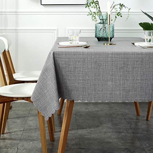 XGzhsa Mantel de PVC, Mantel Rectangular, Mantel Impermeable a Prueba de Manchas para la decoración de la Mesa de la Cocina casera, Hermoso y Duradero (120 x 160 cm,Gris)