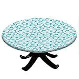 Round Tablecloth with Elastic Edges, Macro Tropical Hibiscus Flowers Pattern in Gradient Colors Hawaiian Exotic Print, Turquoise Design, Fits Tables 48