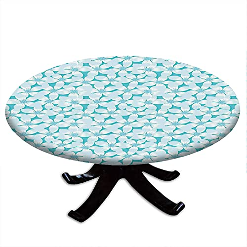 Round Tablecloth with Elastic Edges, Macro Tropical Hibiscus Flowers Pattern in Gradient Colors Hawaiian Exotic Print, Turquoise Design, Fits Tables 48' - 52' Diameter Blue White